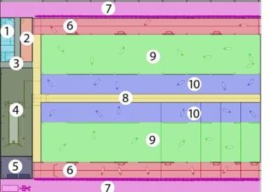diseño de un establo - áreas - realizado con un software de diseño arquitectónico BIM