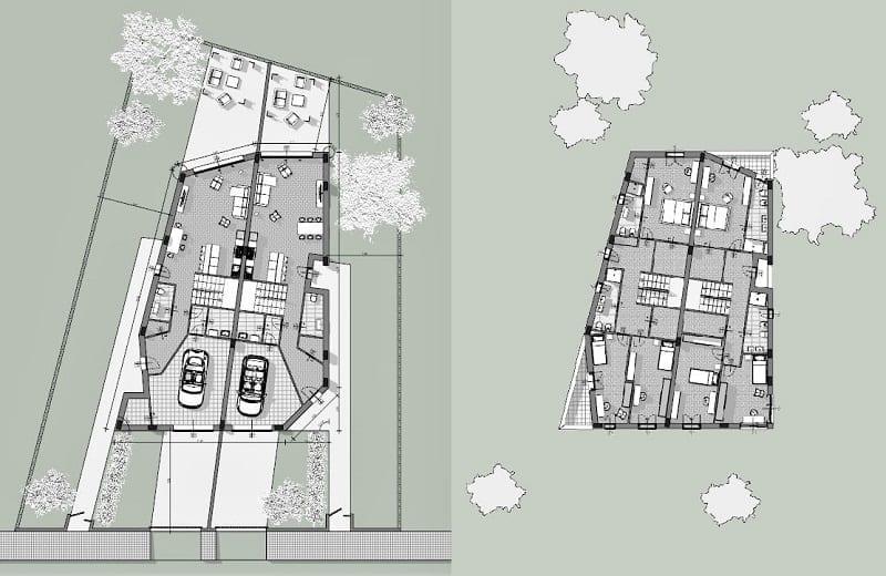 Cómo-diseñar-una-casa-pareada-planos-planta-baja-primer-piso-software-arquitectónico-BIM-Edificius