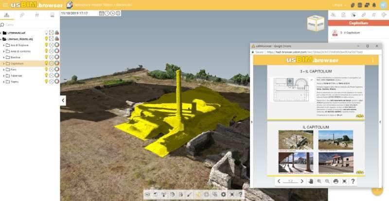 Vista del levantamiento del sitio arqueológico de Liternum y de la información documental enlazada a los elementos del modelo en la plataforma colaborativa BIM usBIM.platform
