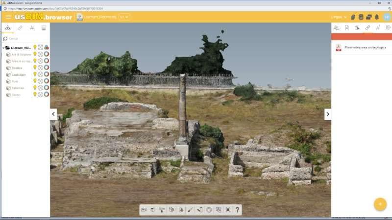 Vista del levantamiento del sitio arqueológico de Liternum en la plataforma colaborativa BIM usBIM.platform