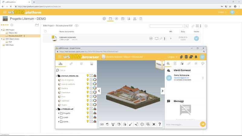imagen de modelos federados del parque arqueológico de Liternum en la plataforma colaborativa BIM usBIM.platform