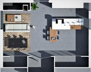 Diseño con concepto abierto. Planta realizada con Edificius