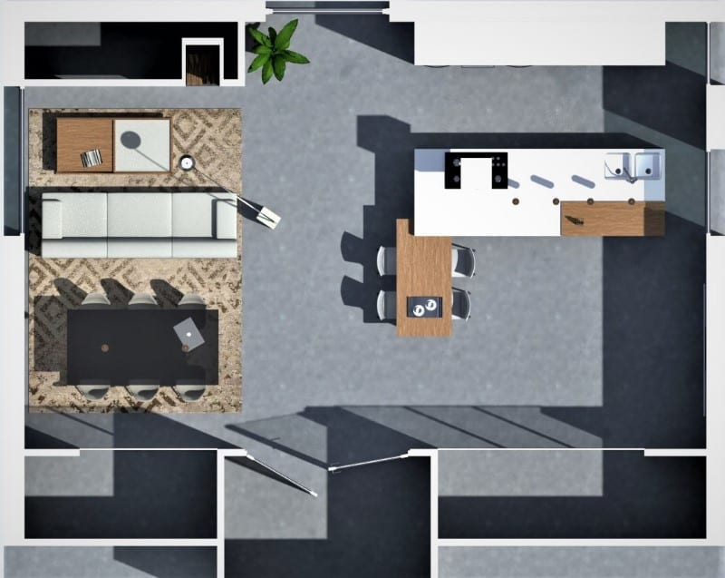 Diseño con concepto abierto (open concept). Planta realizada con Edificius