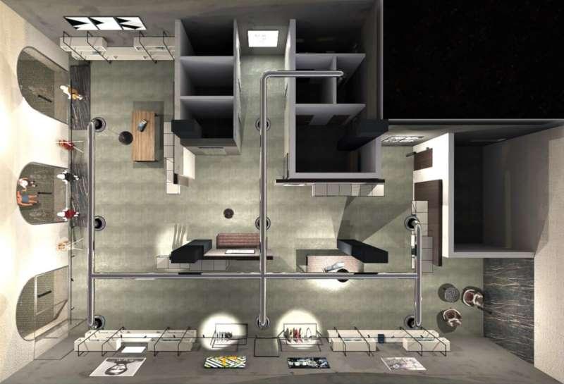 Diseño de una tienda de ropa, Perspectiva de la planta realizada con Edificius