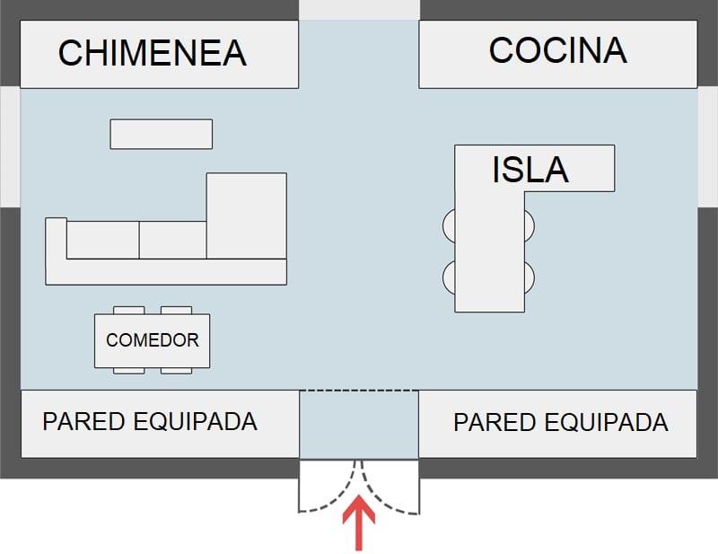 Diseño con concepto abierto - Esquema 1. Cocina, comedor y sala de estar totalmente integrados