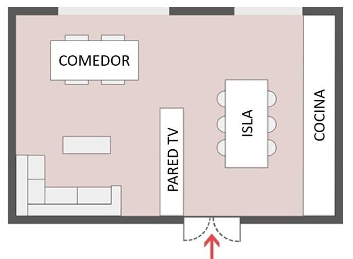 Diseño con concepto abierto – Esquema 3. Cocina/comedor y sala de estar totalmente integrados