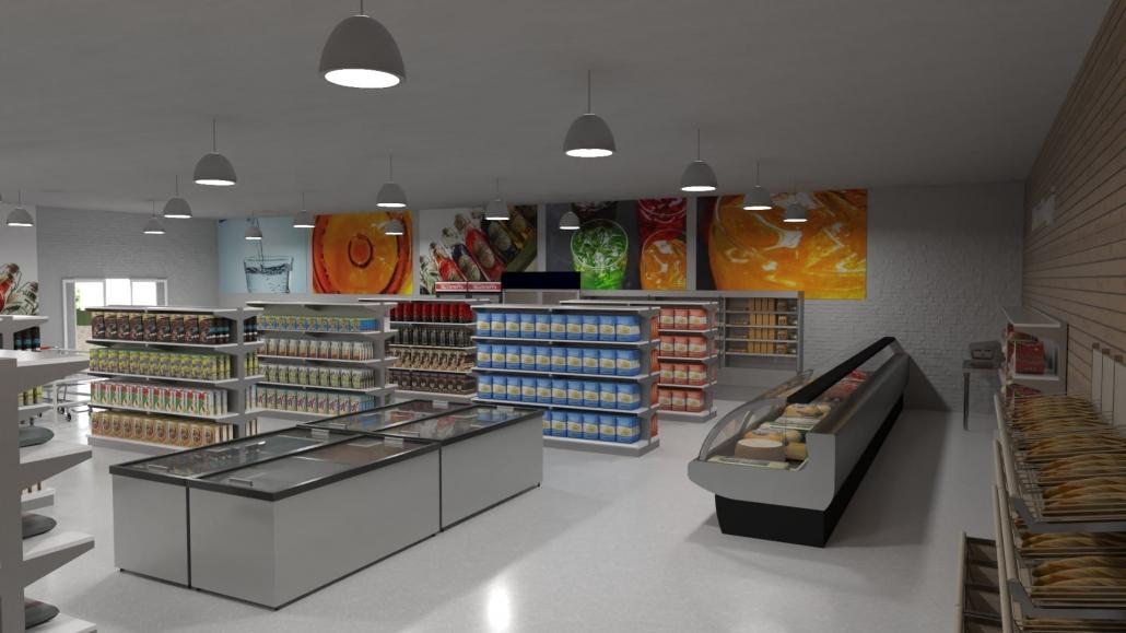 Diseño de un supermercado, Render realizado con Edificius
