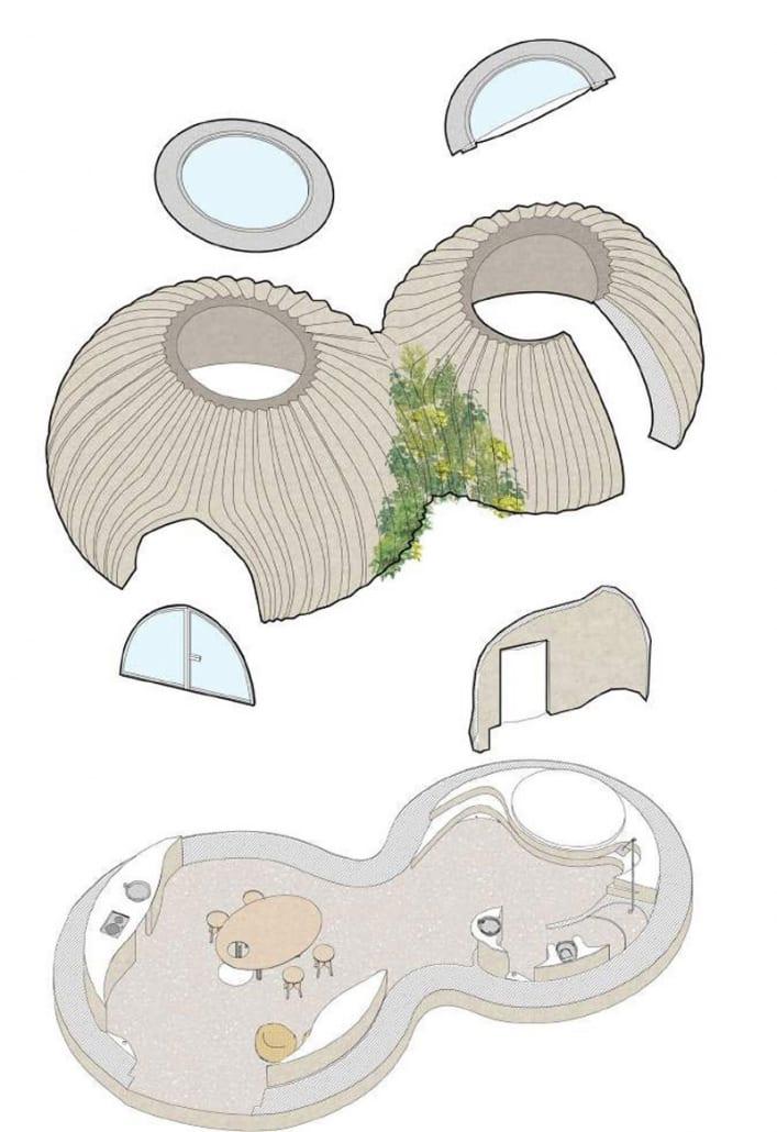 Axonometría de la casa impresa 3D de Mario Cucinella Architects