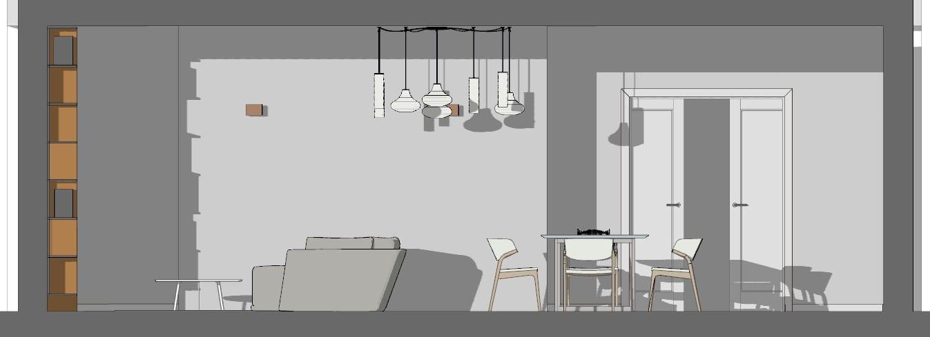 Sección de la sala de estar de un proyecto