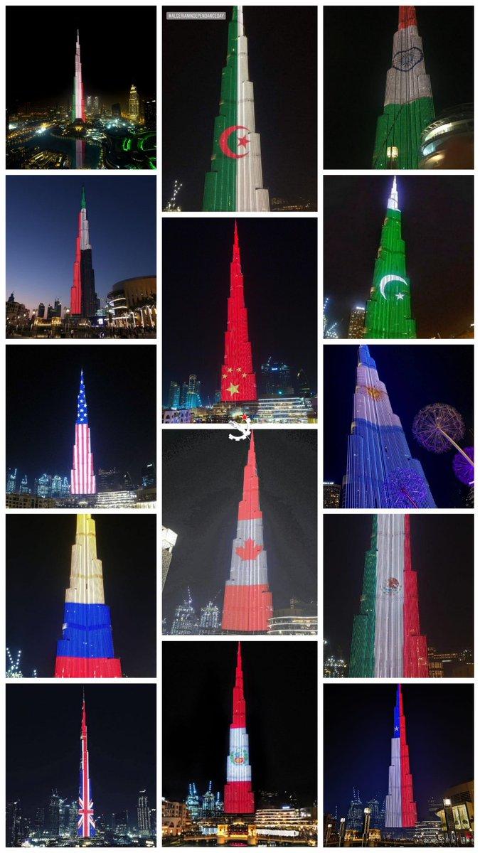 Collage de fotos en color del Burj Khalifa honrando fechas patrias internacionales con su sistema de iluminación