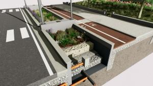diseno complejo de jardin de lluvia con revestimiento de geo fabrica