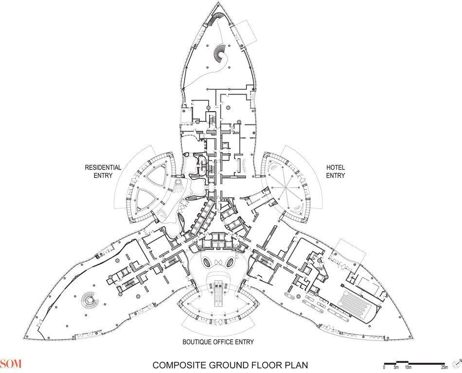 Plano de planta baja del Burj Khalifa en blanco y negro .
