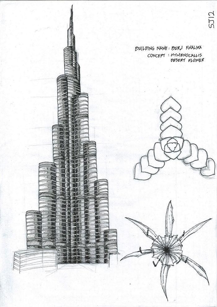 Boceto a mano alzada de una vista en alzado y de la esquematización de la planta del Burj Khalifa según los motivos aspiradores del proyecto que se inspira a una flor