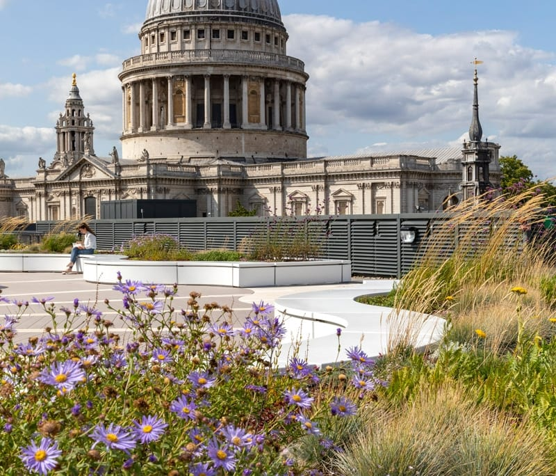 La terraza de la sede con vista a la catedral de Saint Paul