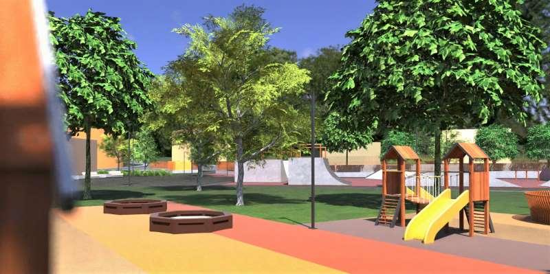 Proyecto de parque urbano, render del Área de juegos para niños y al fondo el skate park
