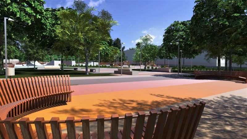 Proyecto de parque urbano, vista desde el área de descanso hacia el espacio para niños y el skate park