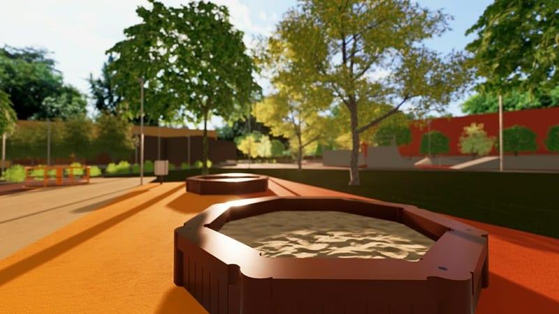 Proyecto de parque urbano: área de juegos para niños
