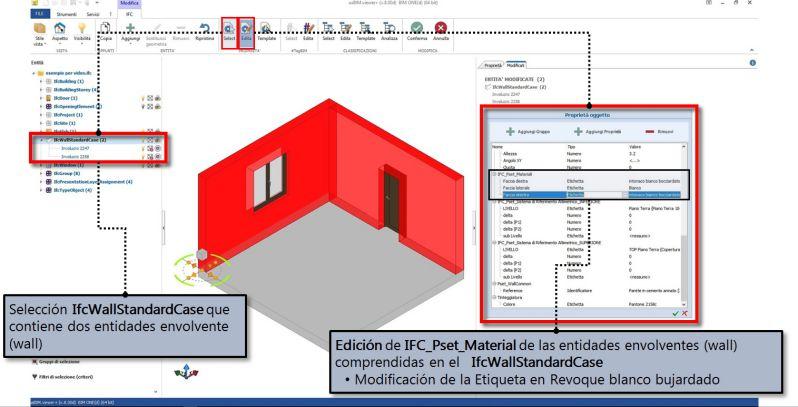 Imagen 3: modificación de una propiedad de la entidad envolvente con usBIM.viewer+