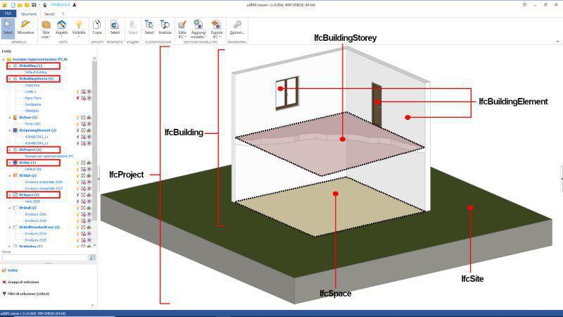 captura pantalla de la interfaz del visor IFC usBIM.viewer sobre Organización jerárquica e identificación de los elementos