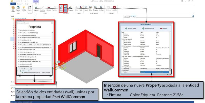 Imagen 2: muestra la inserción de una propiedad a una entidad envolvente con usBIM.viewer+