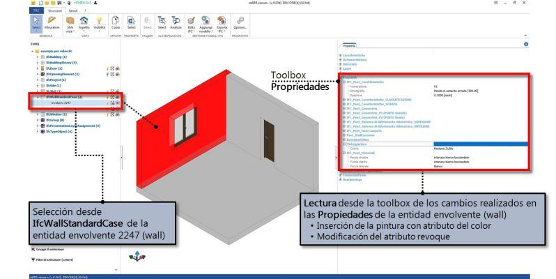 Imagen 4 que muestra la lectura de las propiedades IFC insertadas y asignadas a la entidad envolvente con usBIM.viewer+