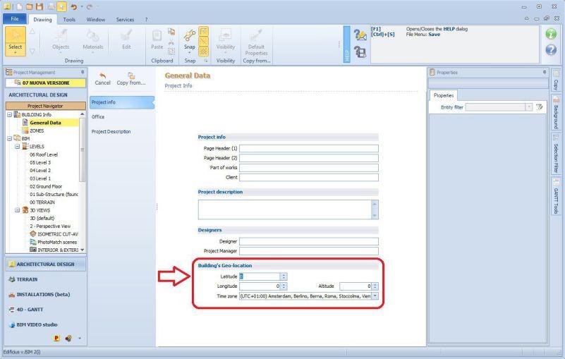 Imagen a color de la interfaz del software BIM eEdificius que muestra la ventana de datos generales