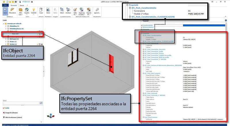 Imagen que muestra la lectura de las propiedades de la entidad con usBIM.viewer+