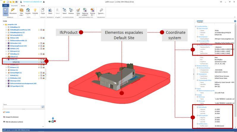 imagen a color de la interfaz de usBIMviewer+ que ilustra las propriedades de un modelo IFC seleccionado