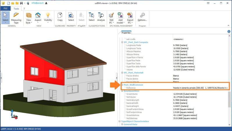 Imagen de Interfaz de usBim.viewer que muestra como leer las propiedades de un muro