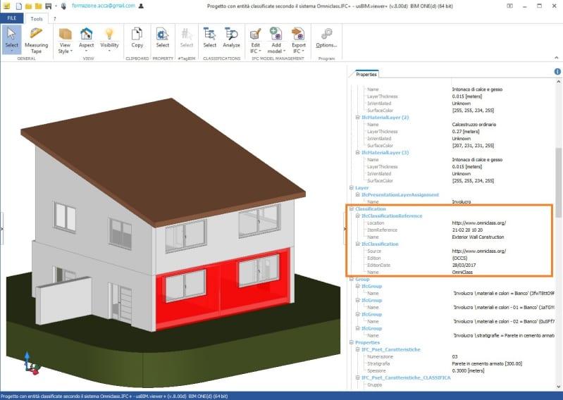 imagen en color de la interfaz del visor IFC que muestra Comprobación de la clasificación de las entidades con usBIM.viewer+ segun OmniClass
