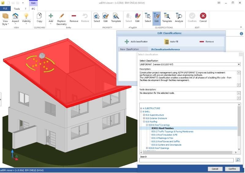 Interafaz del visor IFC usBIM.viewr+: Ejemplo de clasificación UniFormat