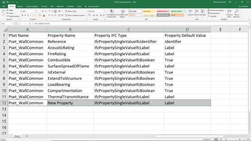 Interfaz Excel que muestra una estructura de Property set