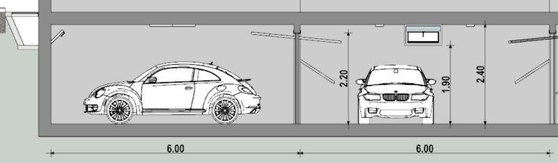 seccion transversal de un garaje disenado con Edificius