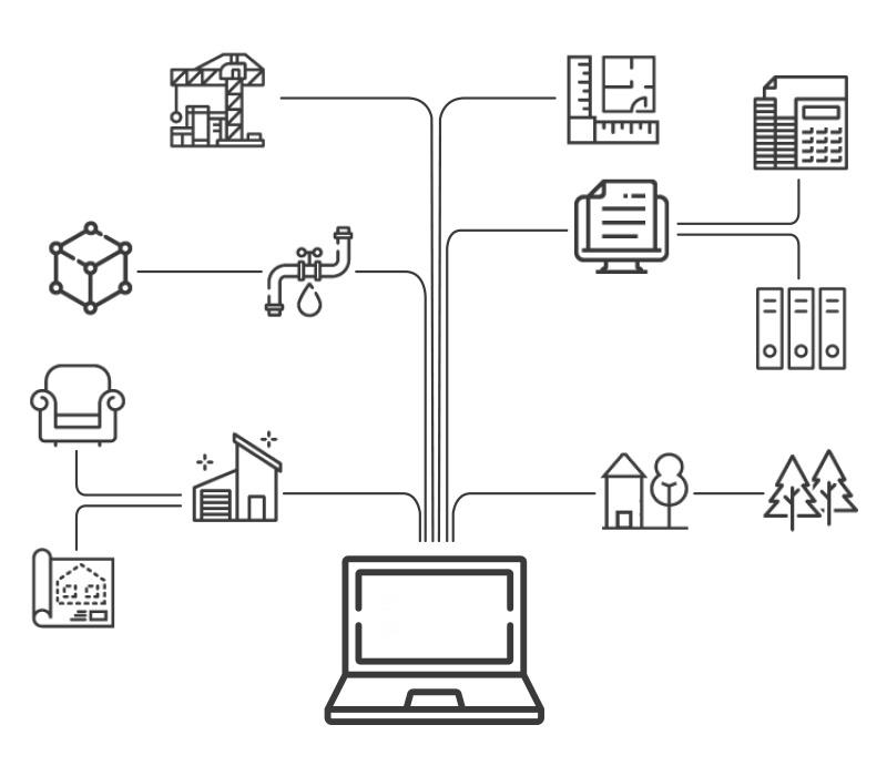 Imagen iconográfica que representa la esquematización del concepto de IoT