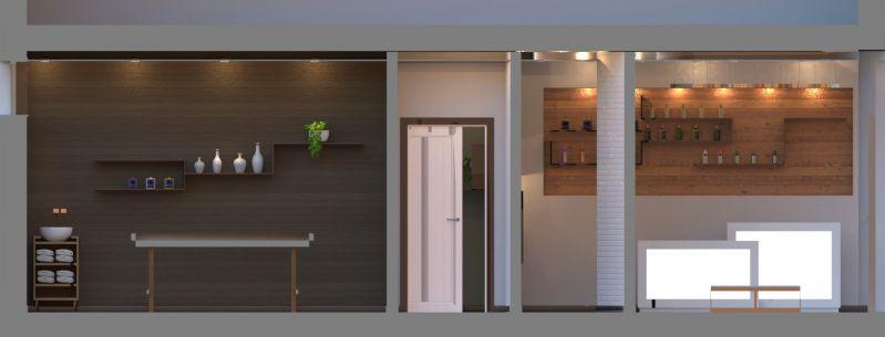 Renders realizado con el software BIM Edificius de sección de un salón de belleza
