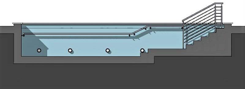 seccion de piscina rehabilitacion realizado con el software BIM Edificius