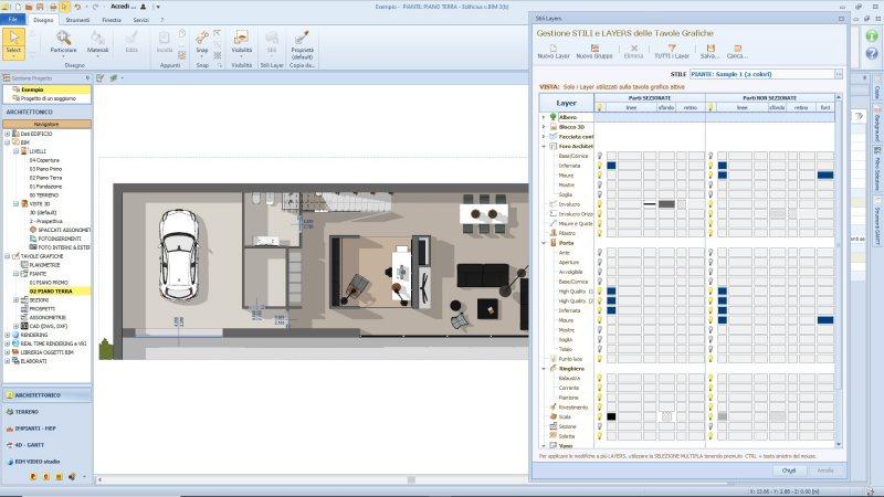Presenta un proyecto de interior design con impresionantes planos 2D y vistas 3D imagen a color del software Edificius que muestra una planta tipo