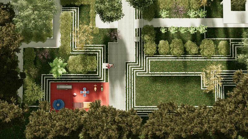 Diseño de áreas verdes | Render realizado con Edificius
