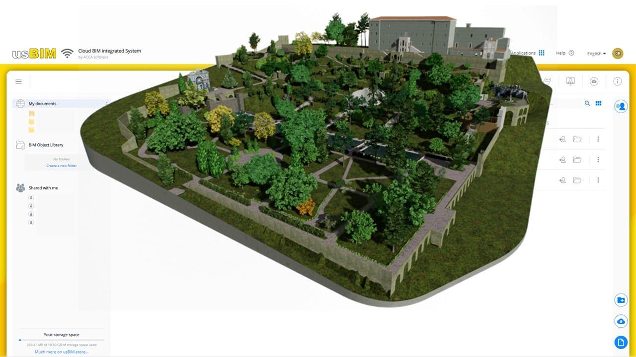 Vista 3D a color del parque historico con interfaz de usBIM