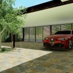 Rendu 3D avec détails Extérieur de Casa AltaBrisa24 - Voiture devant le garage