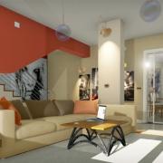 Rendu de salon avec blocs 3D