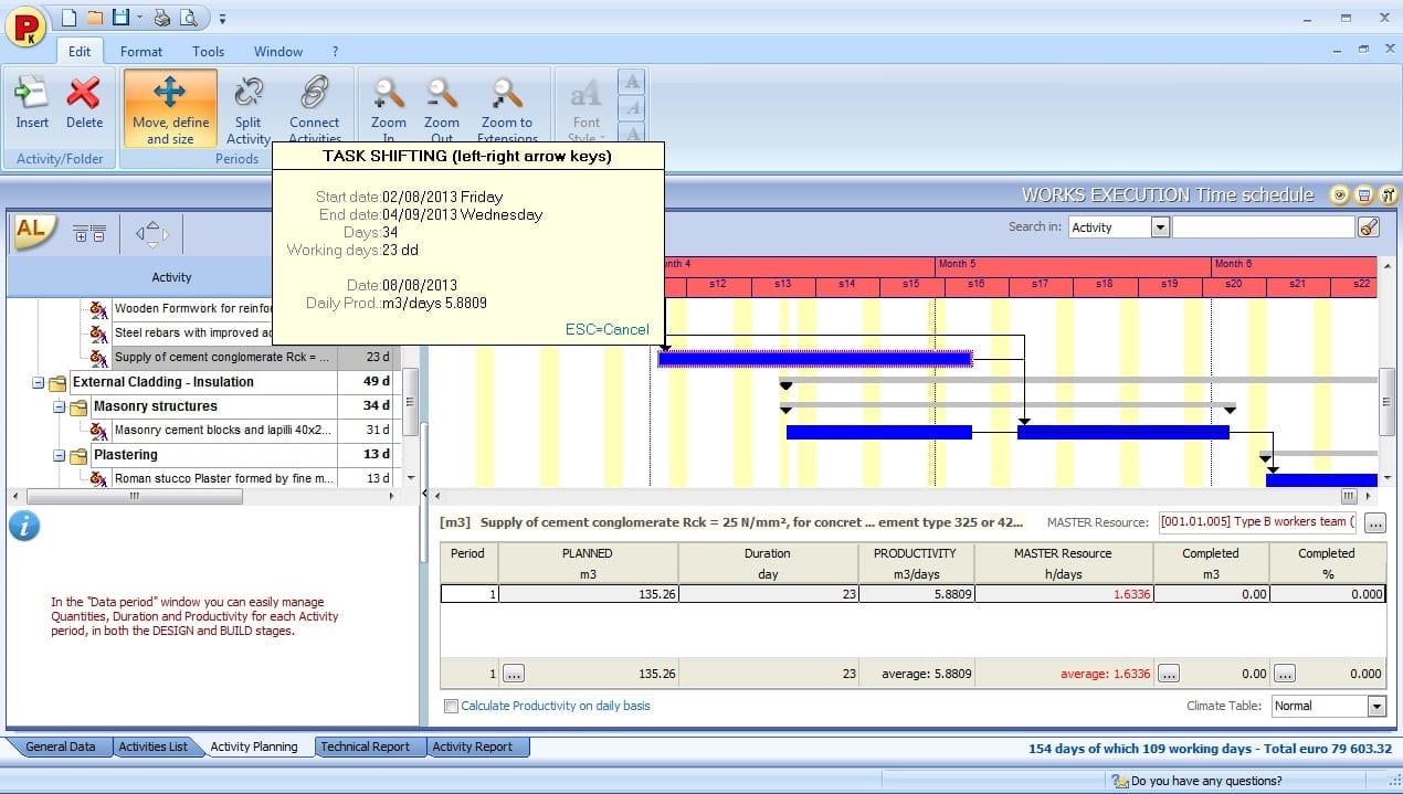Le planning avec le diagramme de Gantt - Planning, déplacement et modification d'une activité