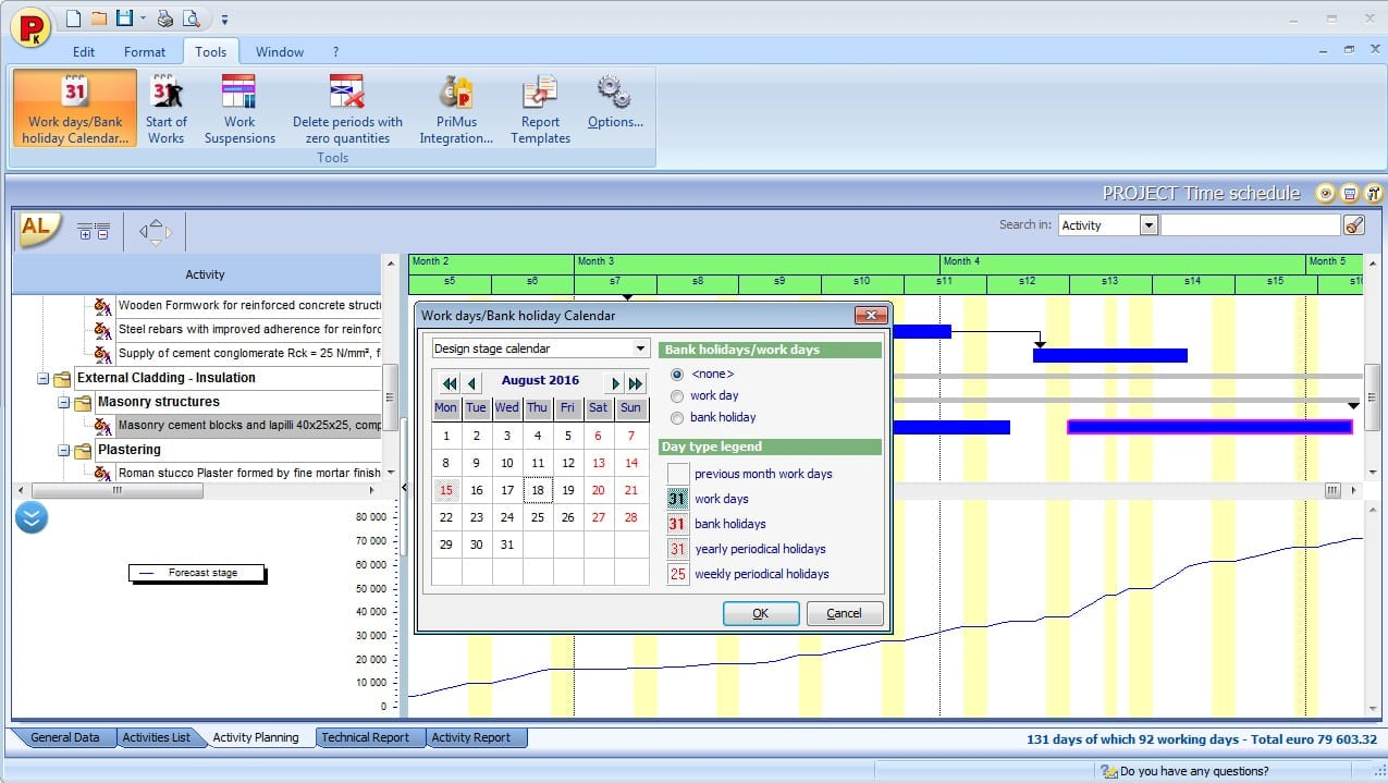 Diagramme avec le dialogue de saisie du calendrier avec jours de travail et fériés