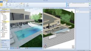 Vue 3D et coupe avec piscine Park-House 01