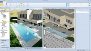 Vue 3D et coupe avec piscine Park-House 02