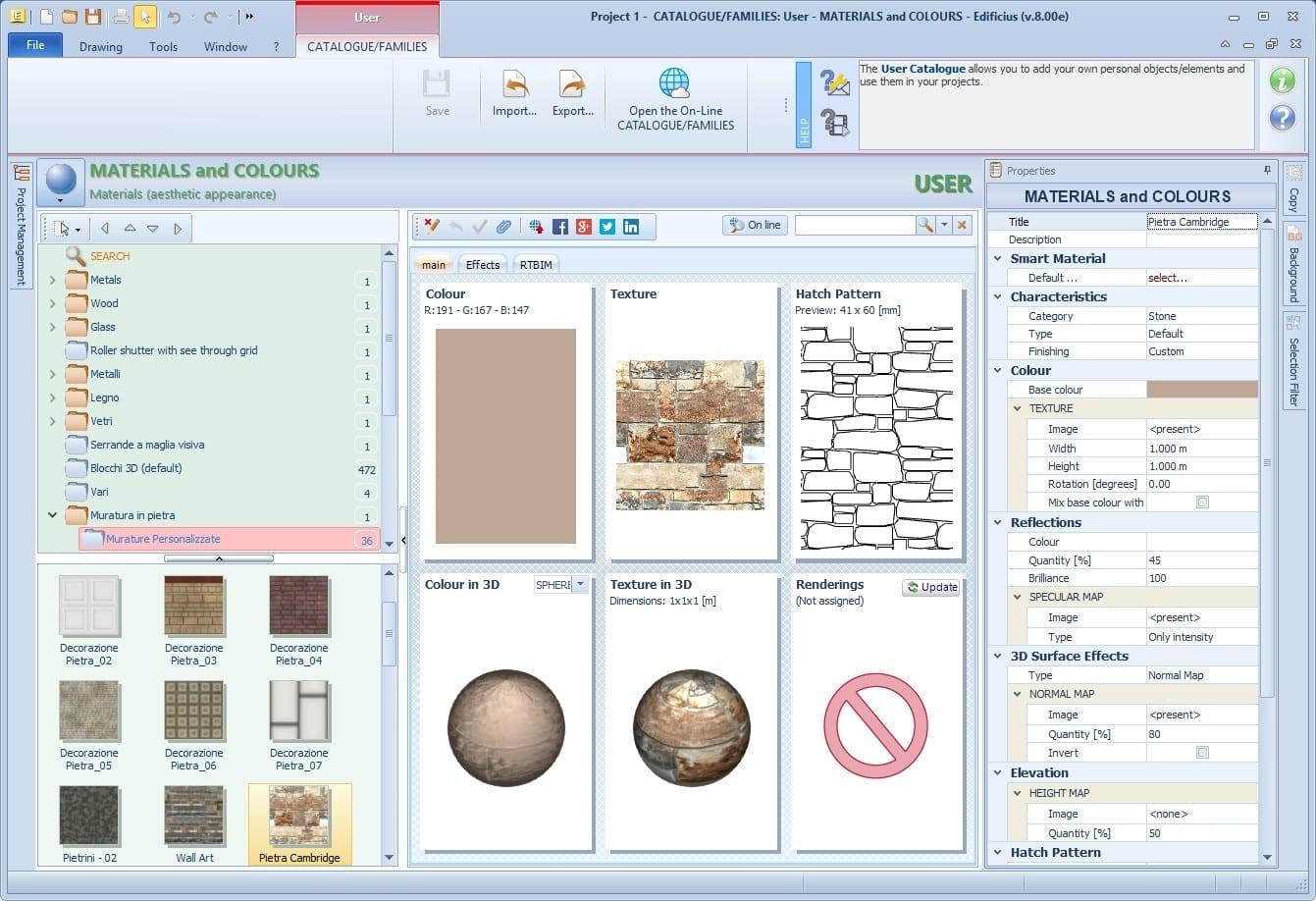 Propriétés des Textures Map avec un logiciel BIM