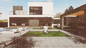C-House vue extérieur produite par Edificius BIM-02