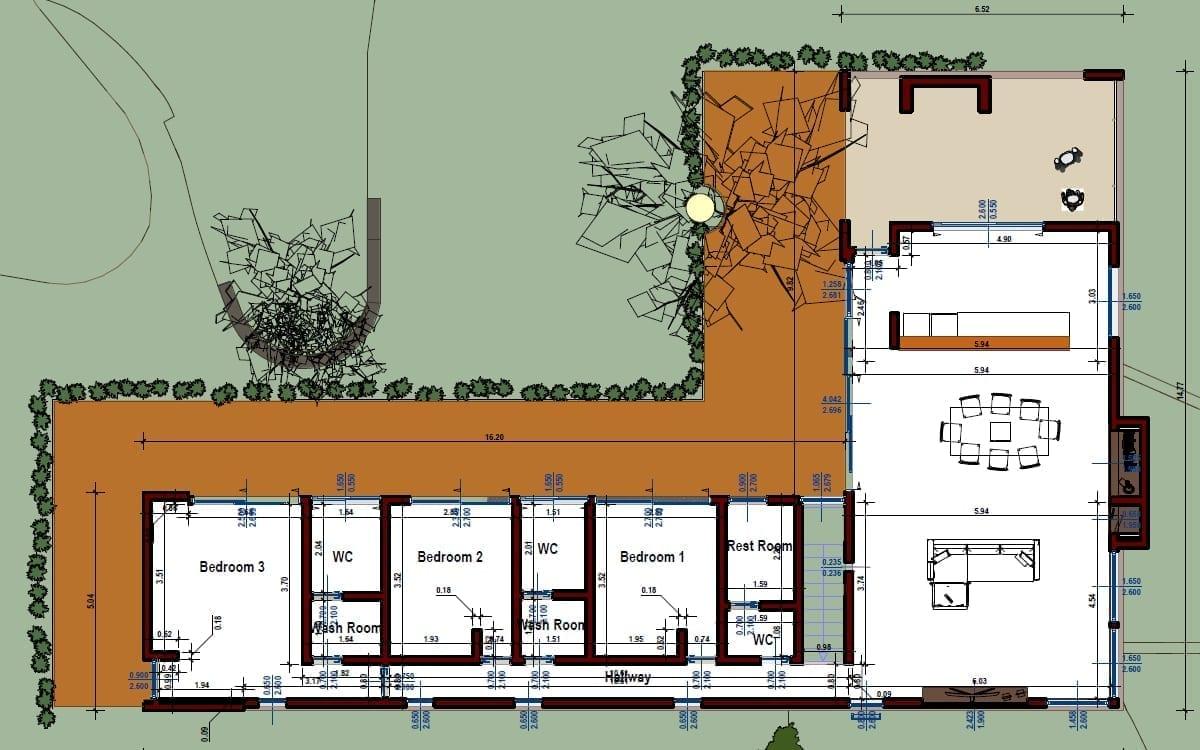 Plan de Casa Kaprys : le projet réalisé avecle logiciel de BIM Edificius