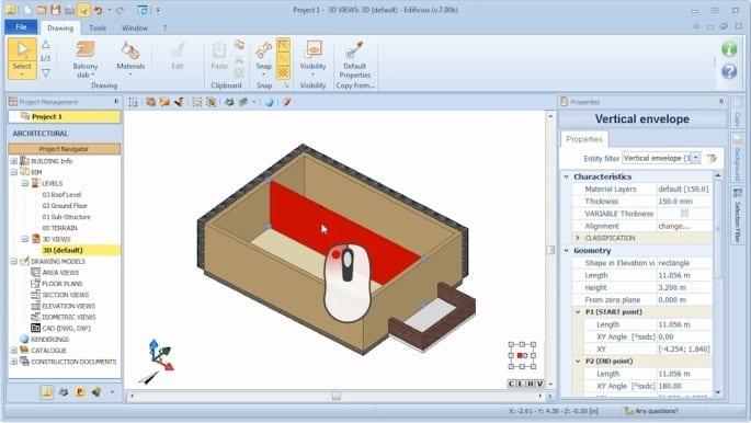 Vue 3D des objets et dessin des objets - Edificius