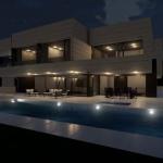 Vue nocturne Piscine Park House - Edificius